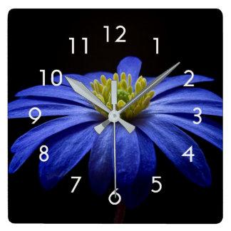 Blue Flower Photo on Black Wall Clock
