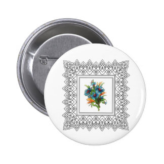 blue flower power 2 inch round button