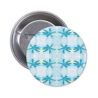 Blue Flower Power Pattern 2 Inch Round Button