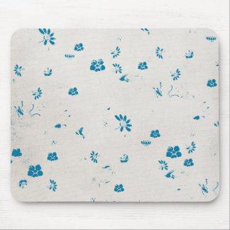 blue flower print mouse pad