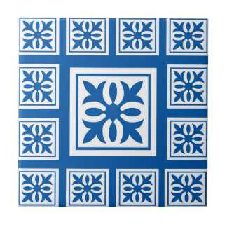 blue flower(s) imprint(s) traditional tile design