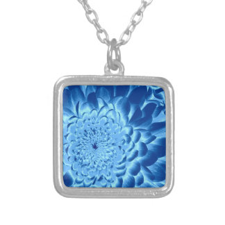BLUE FLOWER SILVERPLATED NECKLACE