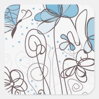 Blue flower square sticker
