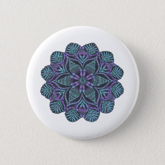 Blue flower woven pattern 2 inch round button