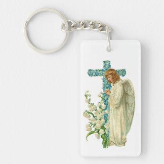 Blue Flowered Christian Cross Double-Sided Rectangular Acrylic Keychain