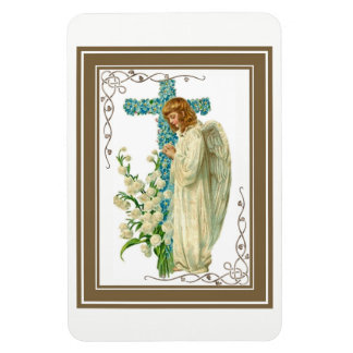 Blue Flowered Christian Cross Magnet