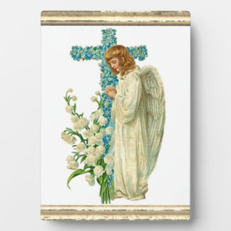 Blue Flowered Christian Cross Plaque