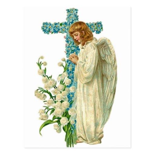 Blue Flowered Christian Cross Post Card