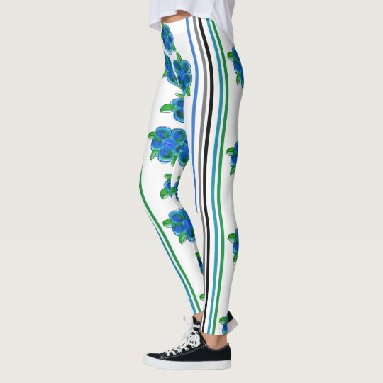 Blue Flowered With Stripes Leggings
