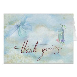 Blue Flowering Birdhouse Thank You Cards