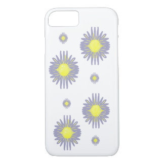 Blue flowers 2 large 2 small yellow pattern iPhone 7 case