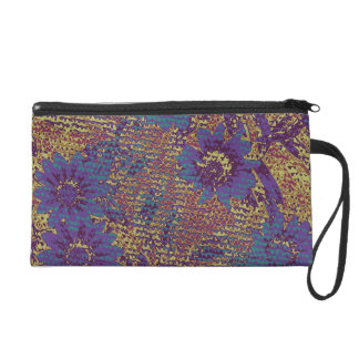 Blue flowers against leaf camouflage pattern wristlets