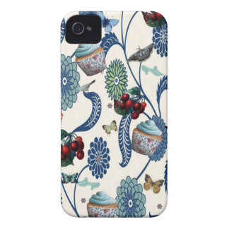Blue Flowers and Cupcakes Case-Mate iPhone 4 Case