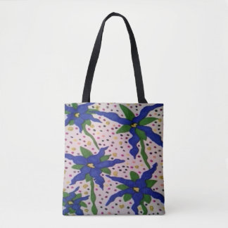 Blue Flowers and Polka Dots Tote Bag