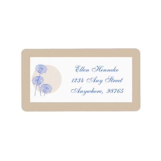 Blue Flowers and Tan Circles Label