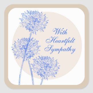 Blue Flowers and Tan Circles Square Sticker