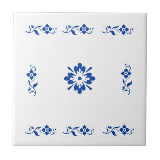 blue flowers array in traditional wall tile design