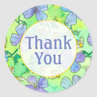 Blue Flowers Bees Thank You Classic Round Sticker