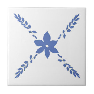 blue flowers digital traditional tile design