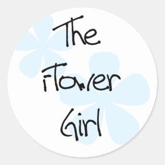 Blue Flowers Flower Girl Classic Round Sticker