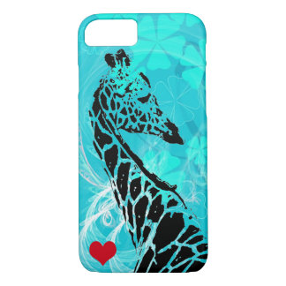 Blue Flowers Giraffe with Red Heart iPhone 7 Case