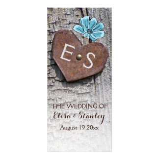Blue flowers & heart on wood wedding program