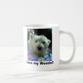 blue flowers, I love my Westie!! Coffee Mug