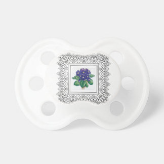 blue flowers in cube baby pacifiers
