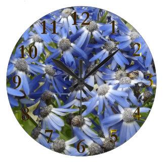 blue flowers large clock