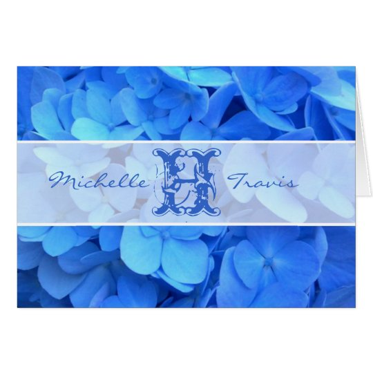 Blue Flowers Monogram & Message Note Card