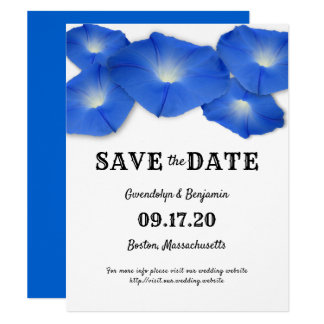 Blue Flowers Morning Glory Save the Date Cards