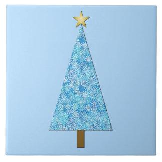 Blue flowers on a modern Christmas tree Tiles