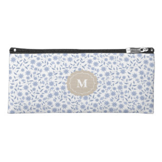 Blue flowers on white pattern with monogram pencil case
