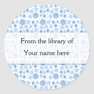 Blue Flowers Personalized Bookplates Classic Round Sticker