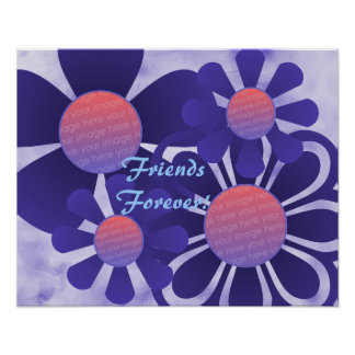 Blue Flowers Photo Frame Print