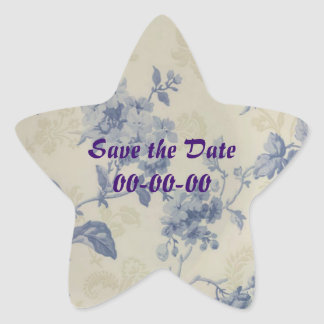 Blue Flowers Save the date Star Star Sticker
