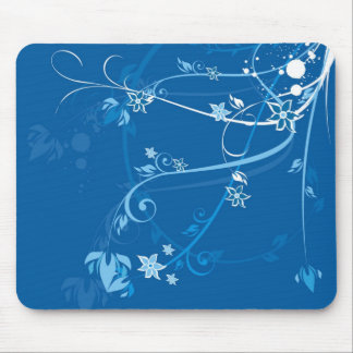 Blue Flowers shirt Mouse Pads