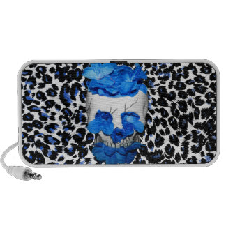 Blue Flowers Skull On Leopard Print Laptop Speakers
