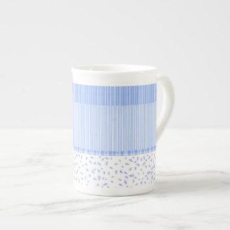 Blue Flowers & stripes, 3 - Bone China Mug