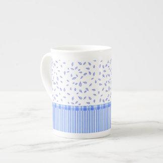 Blue Flowers & stripes - Bone China Mug