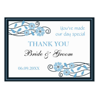 Blue Flowers Thank You Wedding Favor Gift Tags Large Business Card