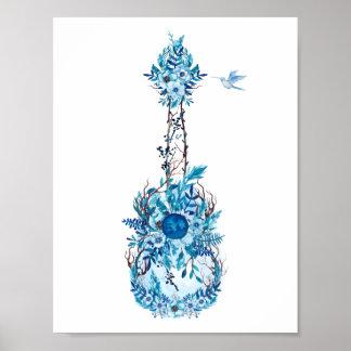 Blue Flowers Ukulele Poster
