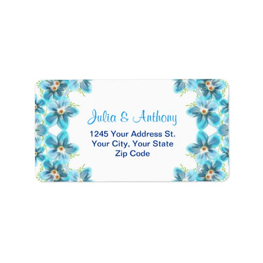 blue flowers wedding address labels