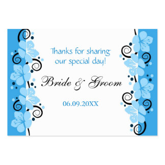 Blue Flowers Wedding Favor Gift Tags Thank You Large Business Card