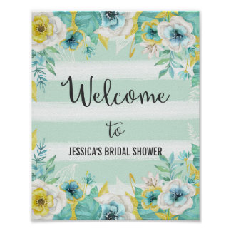Blue Flowers Welcome Poster Print