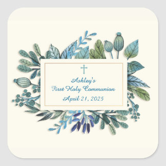 Blue Flowers with Cross, Religious Square Sticker