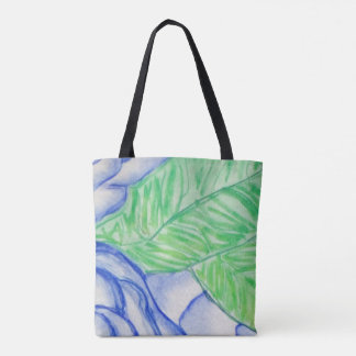 Blue Flowers with Green Leaves Tote Bag