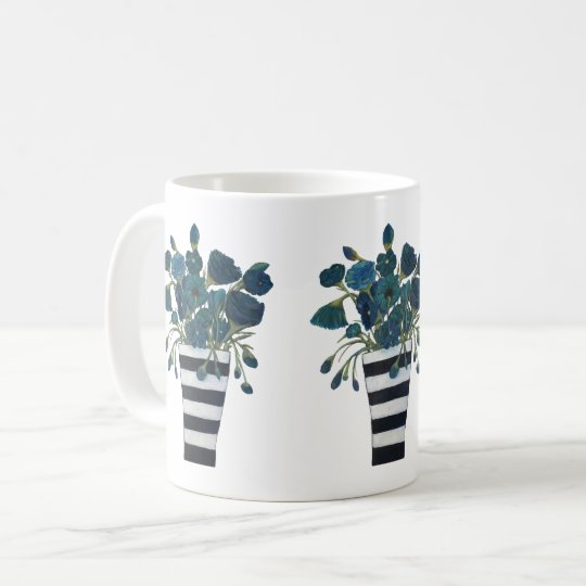 Blue Flowers with Striped Vase Fine Art Coffee Mug