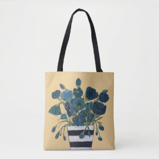 Blue Flowers with Striped Vase Fine Art Tote Bag