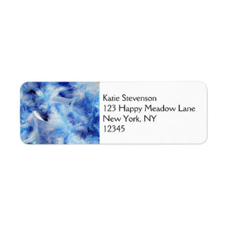 Blue Fluffy Downy Feathers Return Address Label